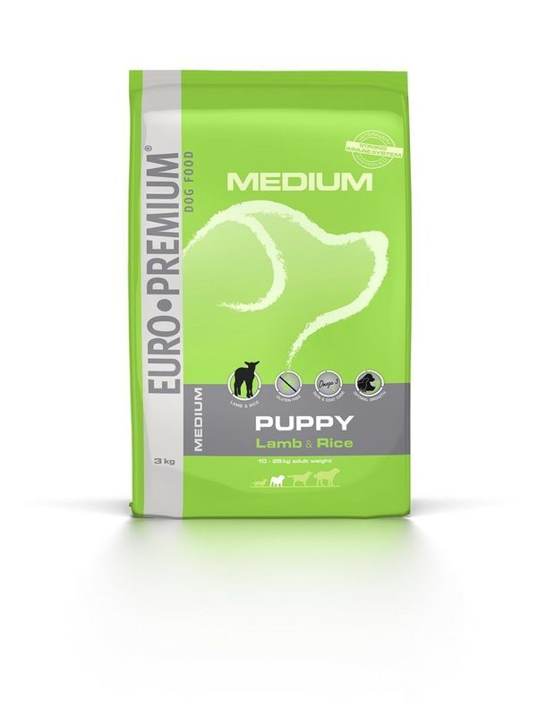 Euro-premium medium puppy lam & rice 3 kg
