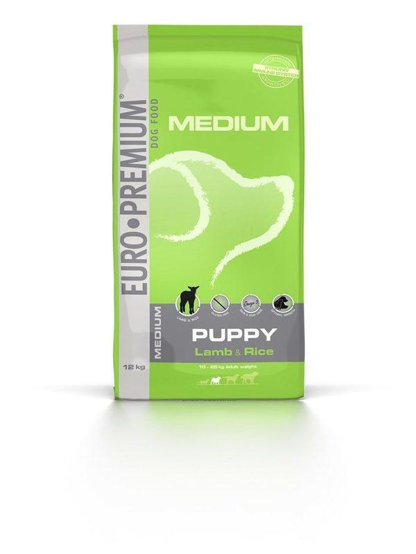 Euro-premium medium puppy lam & rice 12 kg