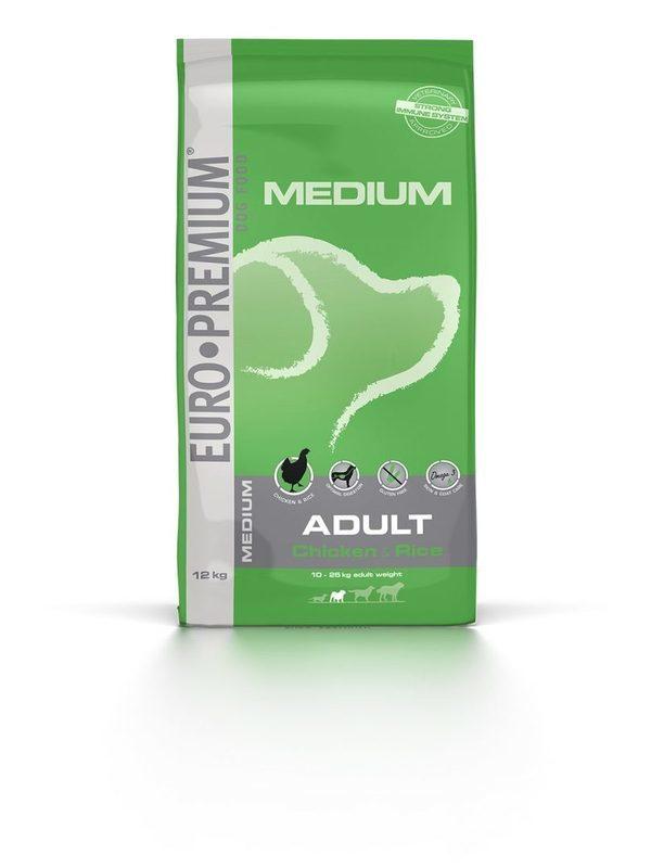 Euro-premium medium adult chicken & rice 12 kg