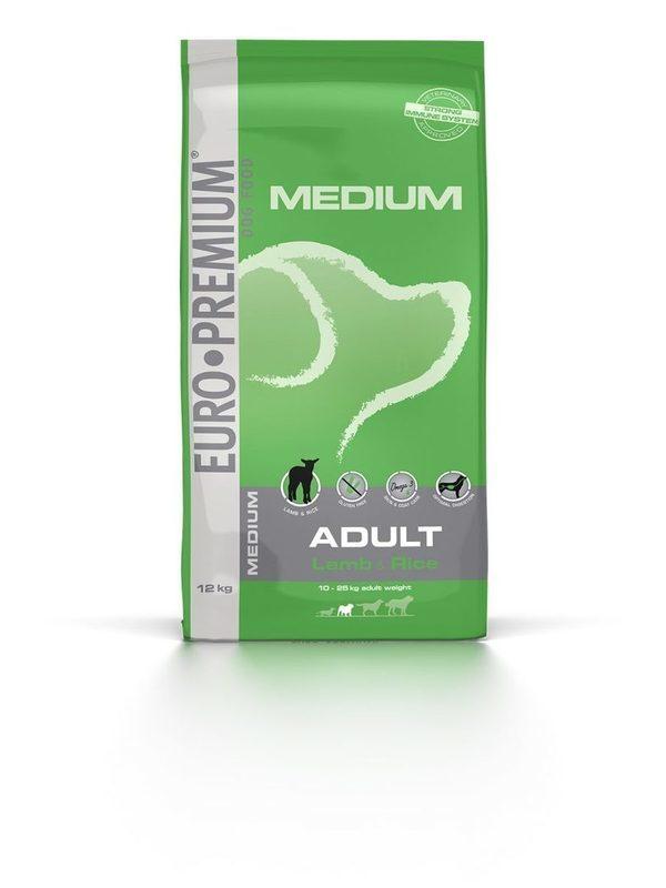Euro-premium medium adult lam & rice 12 kg