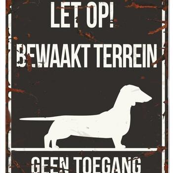 Warning sign square dachshund n zwart