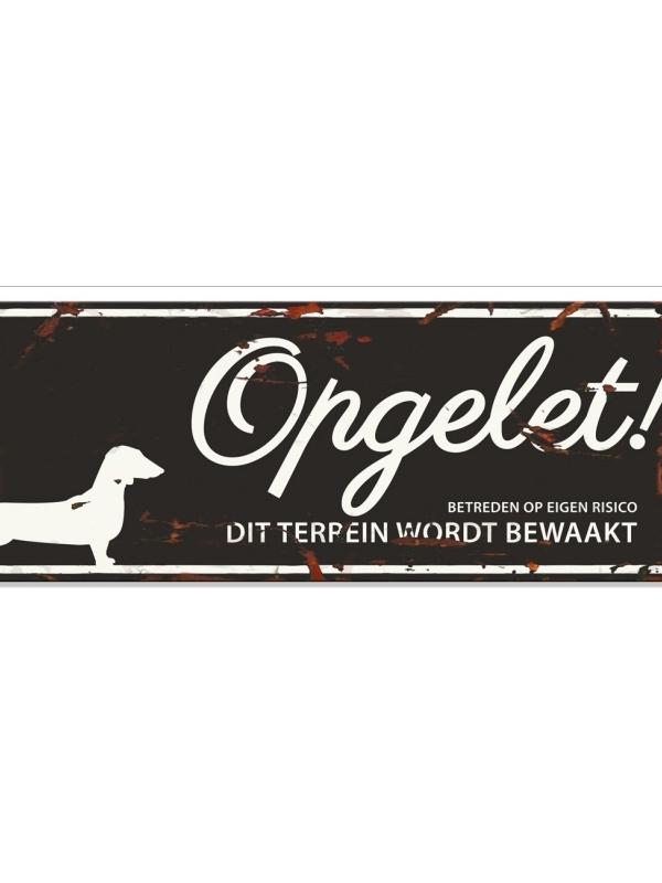 Warning sign dachshund n Zwart