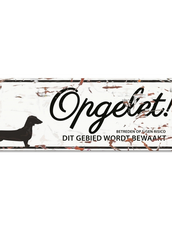 Warning sign dachshund n Wit