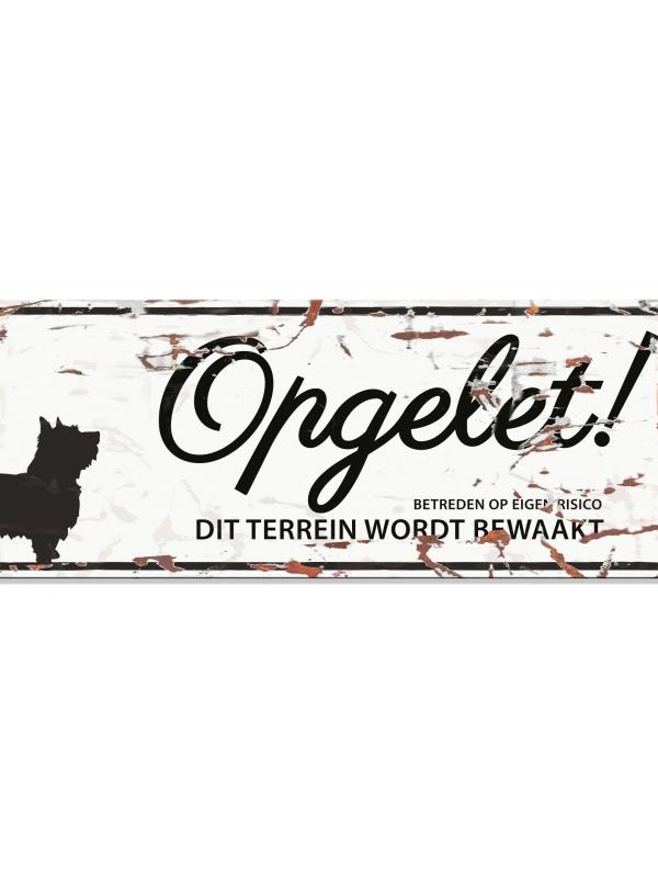 Warning sign terrier n Wit