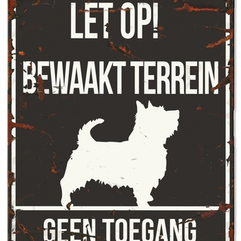 Warning sign square terrier n Zwart