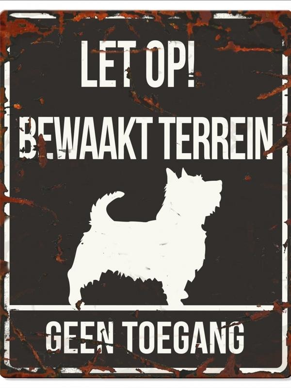 Warning sign square terrier n Zwart