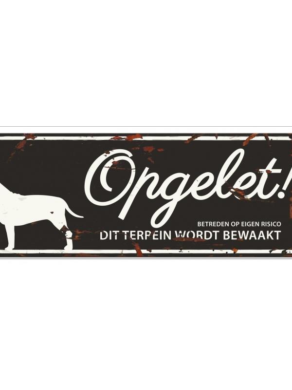 Warning sign bull terrier n Zwart