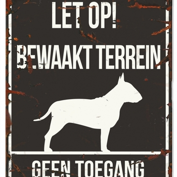 Warning sign square bull terrier n Zwart