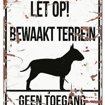 Warning sign square bull terrier n Wit