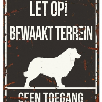 Warning sign square collie n Zwart