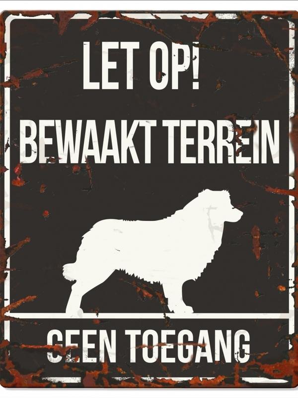 Warning sign square collie n Zwart