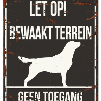 Warning sign square retriever n Zwart