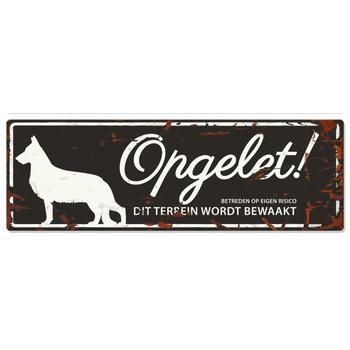 Warning sign german shepherd n Zwart