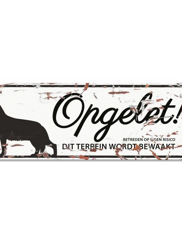 Warning sign german shepherd n Wit