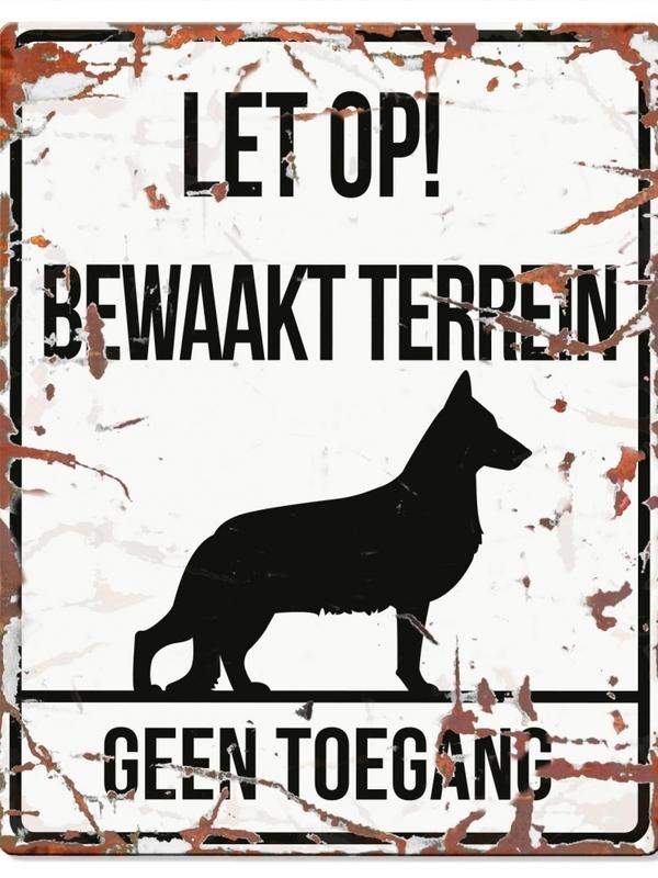 Warning sign square german s. n Wit