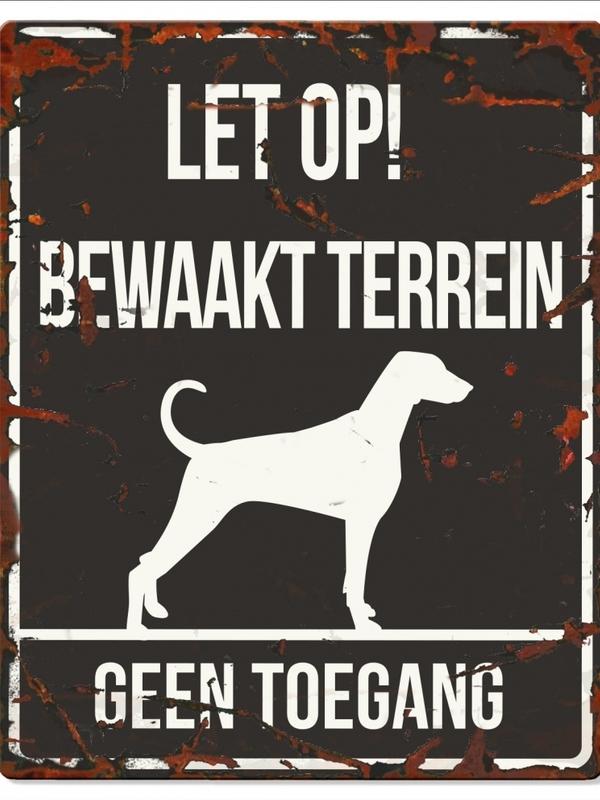 Warning sign square dalmatian n Zwart