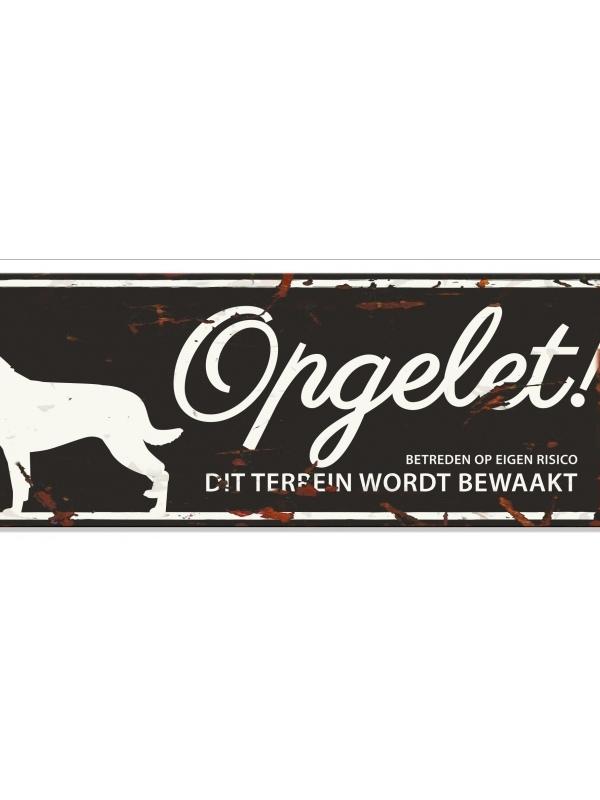 Warning sign rottweiler n Zwart