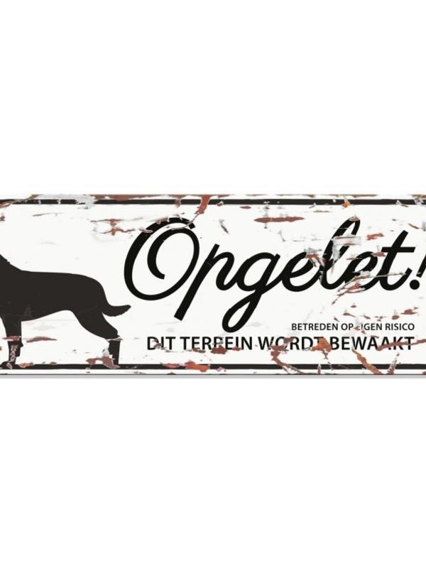 Warning sign rottweiler n Wit