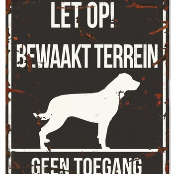 Warning sign square rottweiler n Zwart