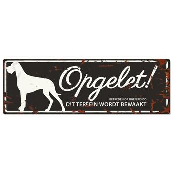 Warning sign danish dog n Zwart