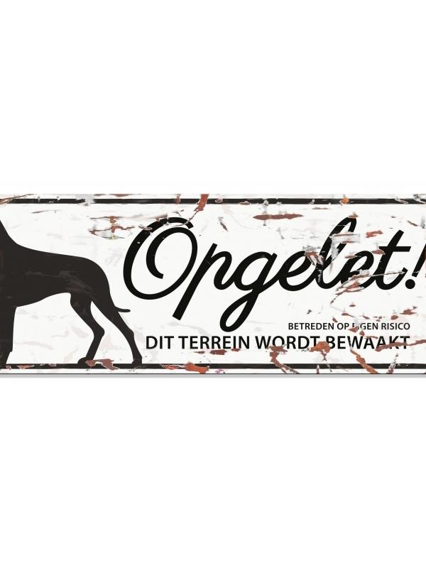 Warning sign danish dog n Wit