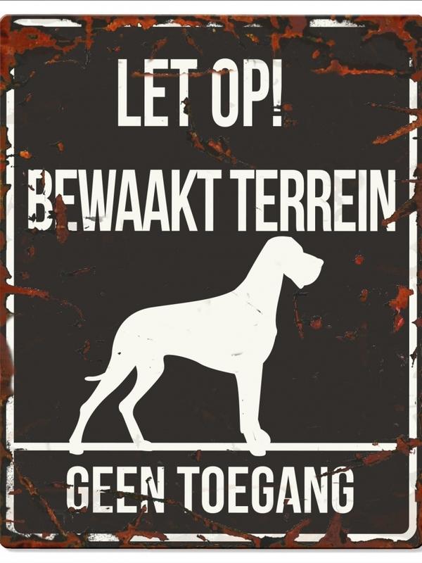 Warning sign square danish dog n Zwart