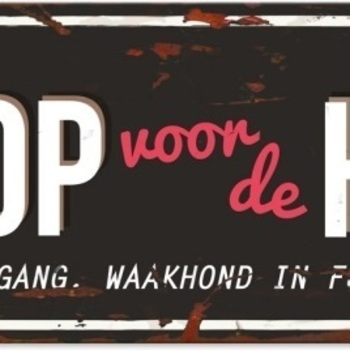 Warning beware of the dog n Zwart/rood