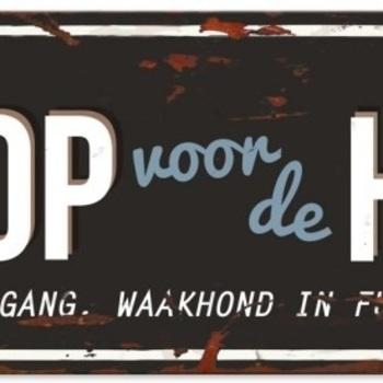 Warning beware of the dog n Zwart/blauw