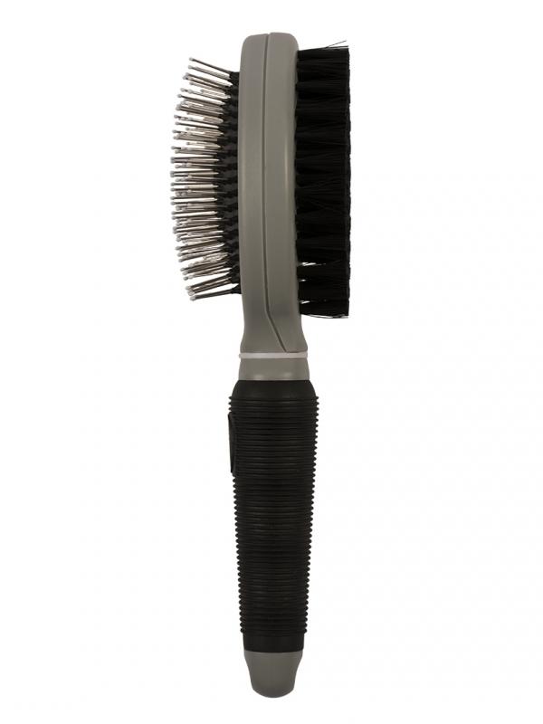 2in1 verzorgingsborstel large Zwart/grijs