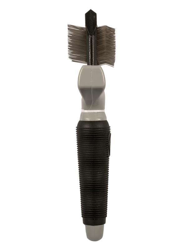 Flexibele slickerborstel duo large Zwart/grijs