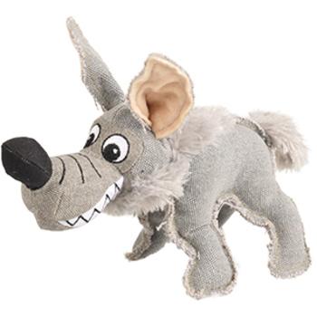 Canvas hyena met squeaker 28cm