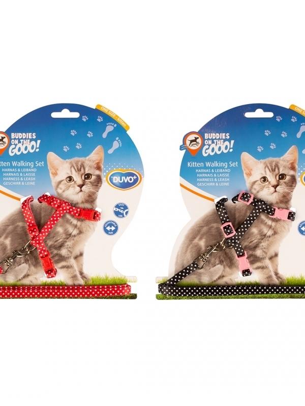 Kitten wandelset witte bollen Zwart/rood 15-25cm / 8mm-125cm