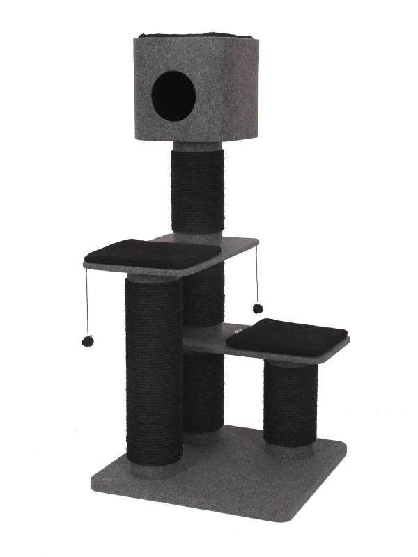 Krabpaal comfort plus obsidian Grijs 75x75x158cm