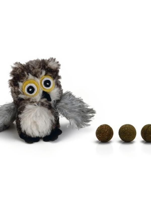 BZ pluche katspeeltje Uil+catnip ballen 9,5cm