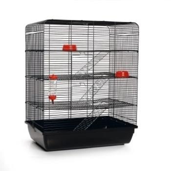 Ratten-/knaagdierenkooi Remy zwartt 58x38x71cm