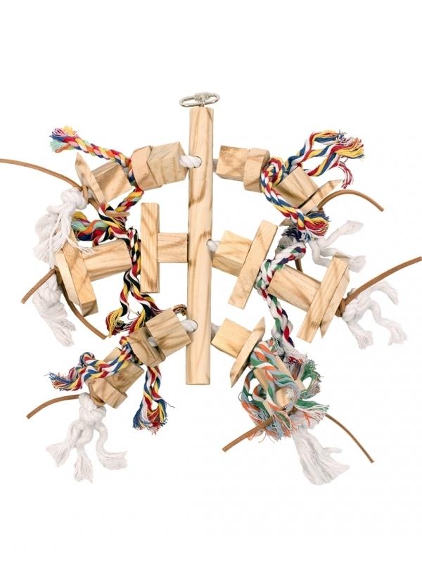 Houten hanger met leder en touw 45cm