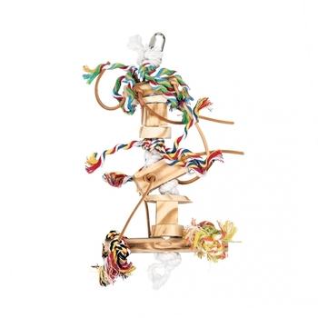 Houten hanger met leder en touw 38cm