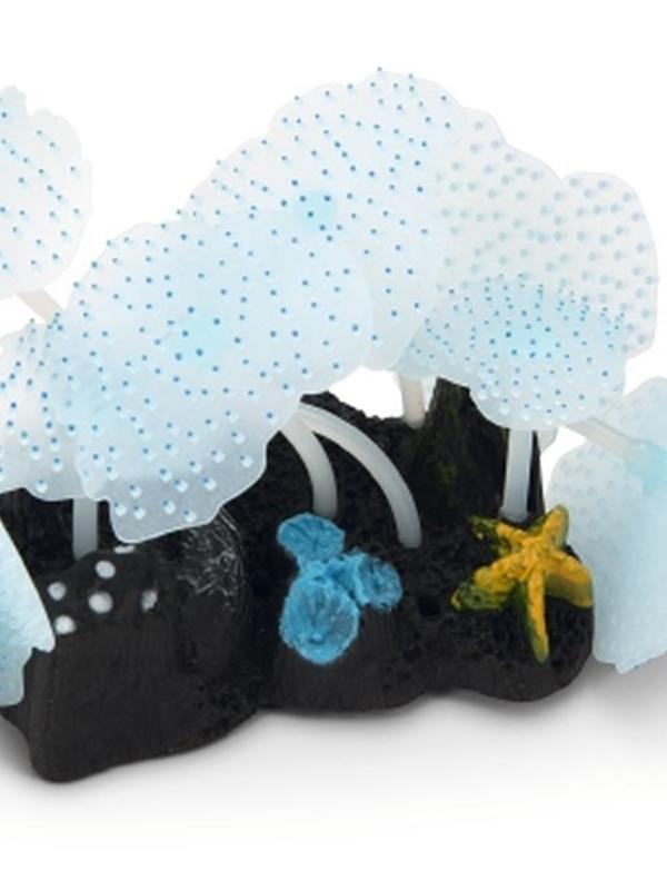 Siliconen zeeanemoon blad Glow in the dark. Blauw. 10 x 7,5 x 11 cm