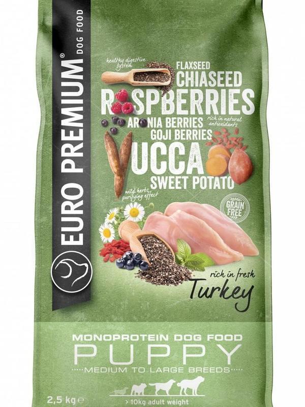 Euro-premium midium/large puppy turkey 2,5 kg