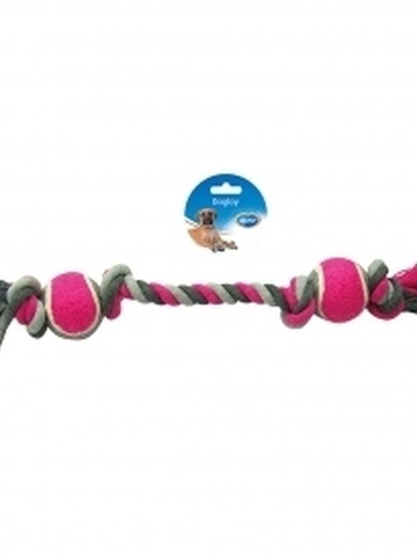 Knoop katoen met 4 knopen & 2 tennisballen Grijs/roze 50cm
