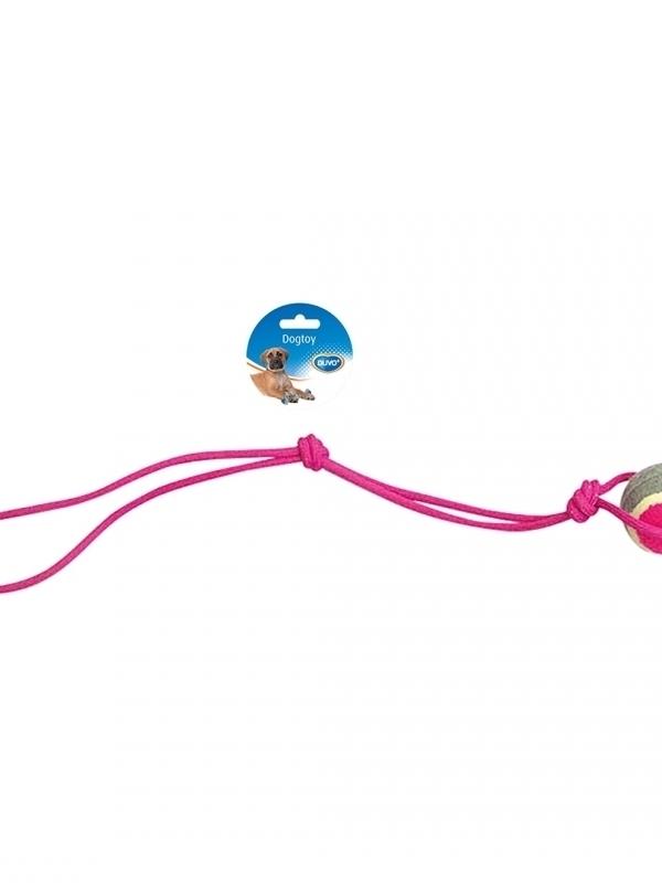 Knoop katoen pendel met 1 knoop & tennisbal Grijs/roze 60cm