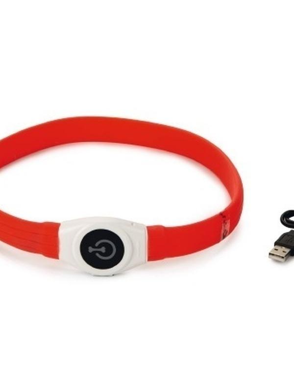 Safety Gear Glowy - Halsband Hond - Rood - 65x2,5 cm